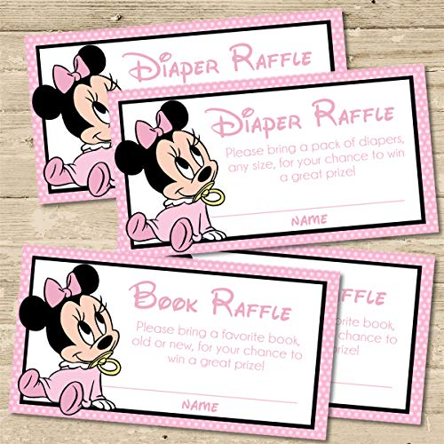 Minnie Mouse Baby Shower Diaper Raffle Tickets - Set of 30, Minnie Mouse Baby Shower Book Raffle Baby Shower Tickets, Set of 30, Minnie Mouse Baby Shower Supplies