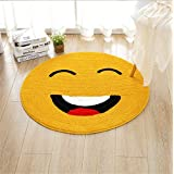 KUPARK Emoji Smiley Emoticon Yellow Round Rug Dining Room Bedroom Kitchen Bathroom Nursery Room Carpet Floor Mat, Dia: 90cm
