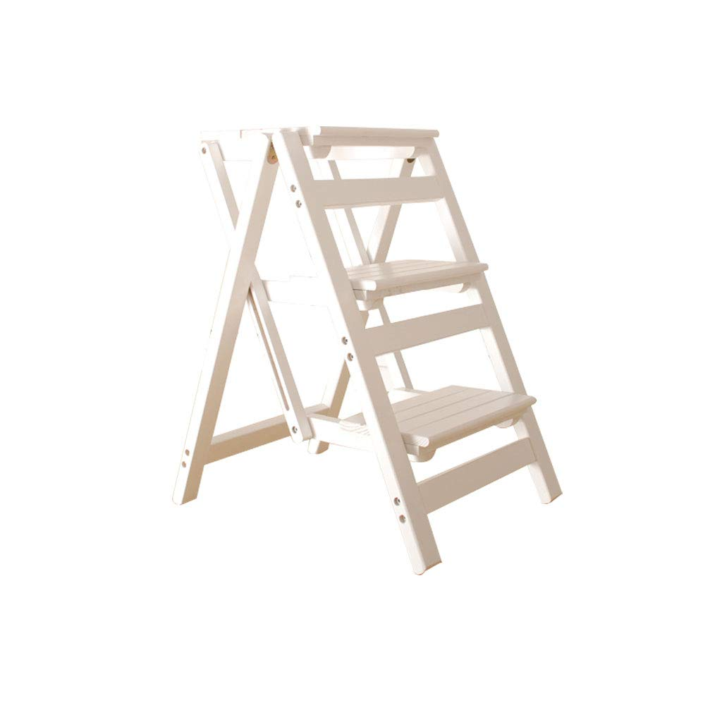 JI Bin Shop Taburete De Madera, Escalera De Escalada Plegable, Escaleras De 3 Pasos, De Un Solo Hogar, Antideslizante (Blanco) +