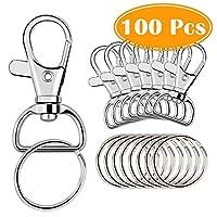 Paxcoo 100 Pcs Key Chain Hooks with Key Rings (Large Size)