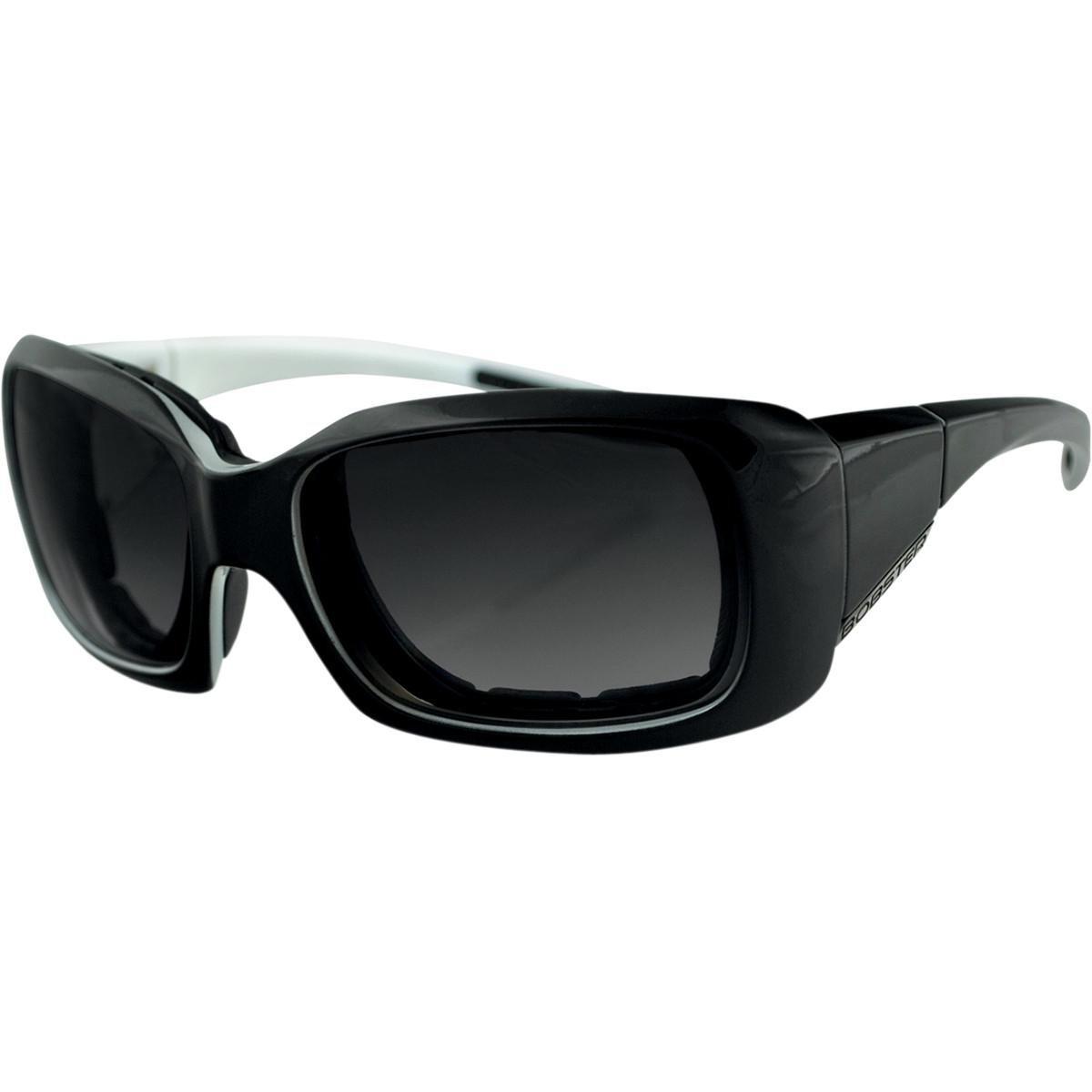 Bobster Ava Convertible Rectangular Sunglasses, Black & White Frame/Smoked Anti Fog Lens, One Size