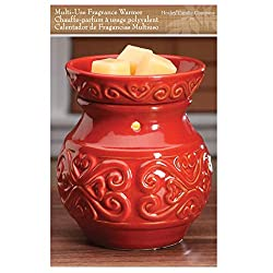 "Hosley 6"" High Red Ceramic Electric Candle Warmer. Ideal gift for wedding, spa and aromatherapy. Use with brand wax melts/cubes, essential oils and fragrance oils."