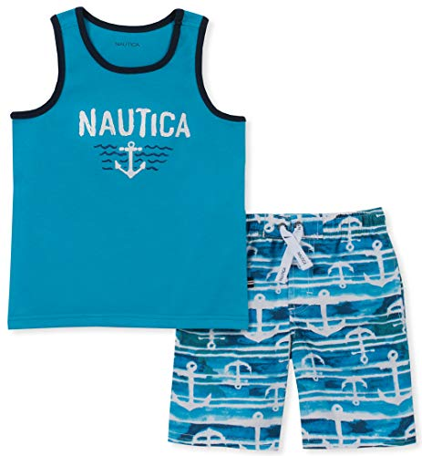 Nautica Baby Boys 2 Pieces Tank Top with Swim Shorts Set, Blue/Print, 18M
