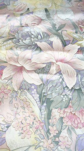 Satin Lily Floral Print Fabric 50