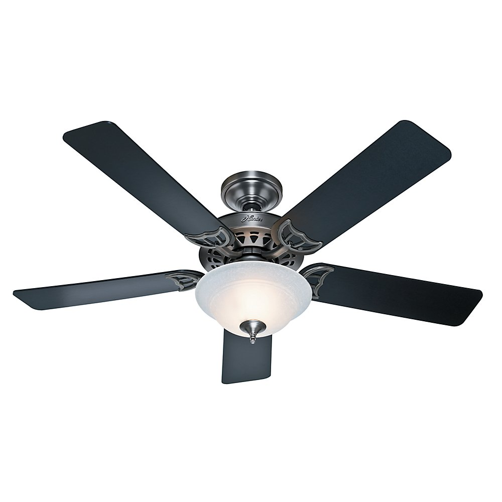Hunter 53171 The Sonora 52-inch Antique Pewter Ceiling Fan with Five Black Cherry Blades and Bowl Light Kit