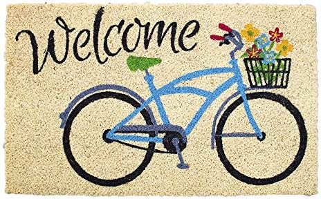Avera Products Welcome Bike with Flowers, Natural Coir Fiber Doormat, Anti-Slip PVC Mat Back