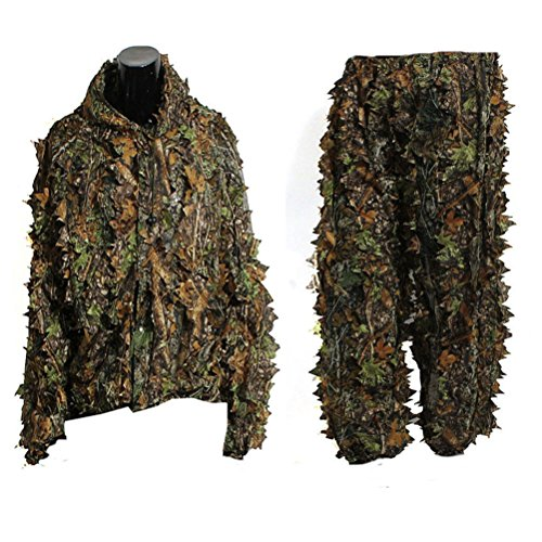VORCOOL Camo Suit Leaf Camouflage Woodland Suit Set 3D Jungle Forest Hunting Lightweight (Camouflage Woodland Suit)