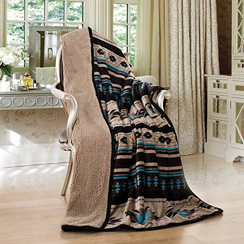 Nu Trendz Signature Southwest Design Sherpa Lined Throw 17426 (tan) ()
