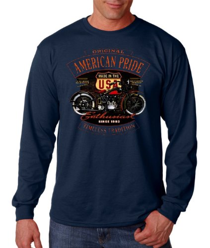 (American Biker Rider Long sleeve Route 66 Shirt Highway Motorcycle Thermal Tee Navy Blue,Large )