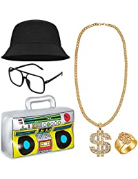 80s/ 90s Hip Hop Costume Kit Cool Rapper Outfits - Inflatable Radio Boombox, Bucket Hat, Sunglasses, Dollar Sign Necklace and Ring