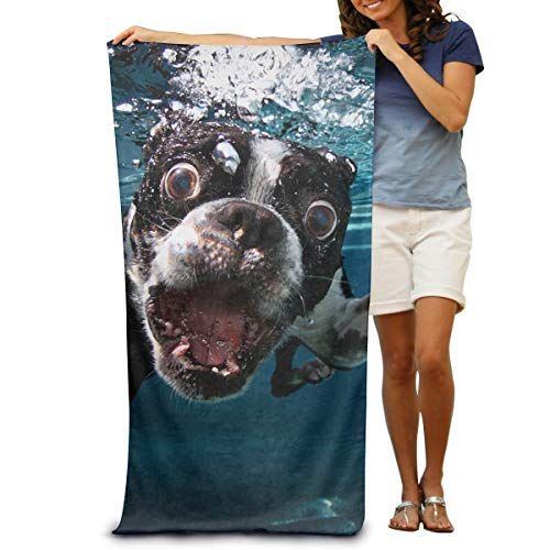 (Happybeth Microfiber Beach Towel Wrap - Boston Terrier Underwater Dog Lightweight Absorbent Quick-Drying SPA Towels Swimsuit Bath and Shower Towel Beach Blanket for Women& Men,Girls&Boys)
