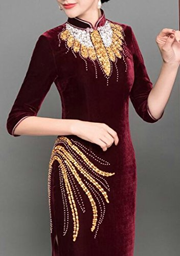 Red5 Long Cromoncent Traditional Chinese Slim Qipao Cheongsam Dress Fit Beading Women's Vintage wqxgF7
