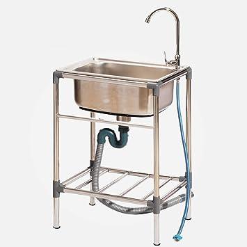HomeLava Fregadero de jardín de un recipiente Fregadero de acero inoxidable Fregadero para exteriores Aplicable para exteriores 53 * 39 * 75 cm (sin grifo): Amazon.es: Bricolaje y herramientas