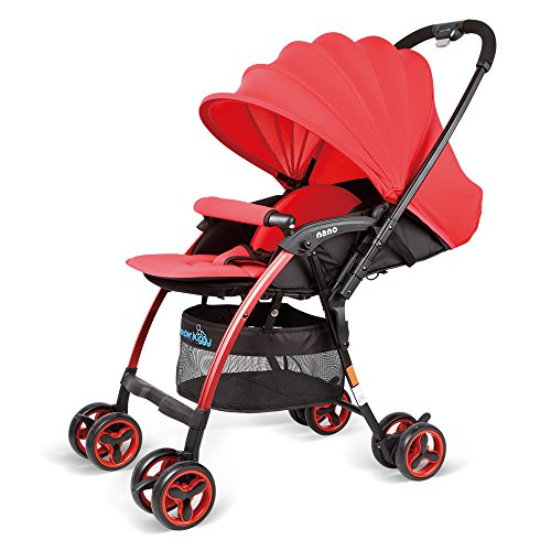 WonderBuggy Lightweight Stroller, Luxury Newborn Baby Stroller for Travelling, Convenient One Hand Folding and Opening, with X-Large Adjustable Sun Visor Canopy & 5-Point Safety System, Red