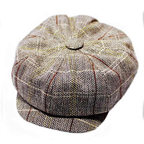 (HuntGold 1X Stylish Vintage England Style Classic Striped Octagonal Cap Beret Duckbill Hat(Brown))