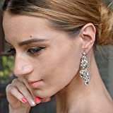 EVER-FAITH-Bridal-Tear-Drop-Flower-Cluster-Dangle-Earrings-Crystal-Rhinestone