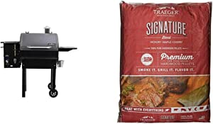 Camp Chef PG24MZG SmokePro Slide Smoker with Fold Down Front Shelf Wood Pellet Grill, Pack of 1, Black & Traeger Grills PEL331 Signature Blend 100% All-Natural Hardwood Pellets (20 lb. Bag)