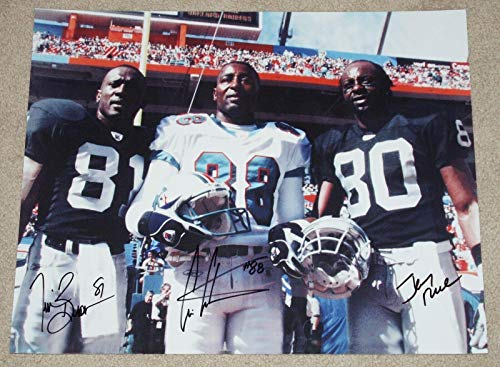 Jerry RICE, Tim BROWN, Cris CARTER Signed 1000 catch club 16x20 photo Raiders - Autographed NFL Photos (Photograph Carter Cris)