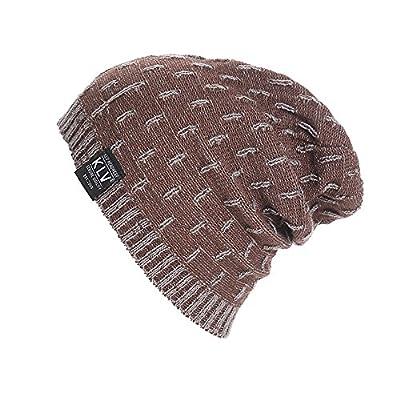 TUSANG Men Women Ski Cap Baggy Warm Crochet Winter Wool Knit Ski Beanie Skull Slouchy Caps Hat Bronze