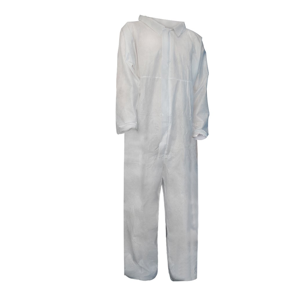 Raytex 5 Pack Disposable Coveralls Jumpsuits for Men White SMMS Chemical Protective Paint Suit Elastic at Cuffs, Ankles,Waist(Large) by Raytex (Image #4)