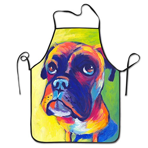 COLOMAKE Polyester Kitchen Chef Animal Boxer Dog Apron with Long Strap Commercial Men & Women Bib Apron for Cooking Baking Crafting Gardening BBQ