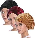 Ababalaya Women's Elegant Gold Velvet Luxury Magic Turban Cap Indian Cap Muslim Headscarf 67×10 Inch,Black+Burgundy+Gold