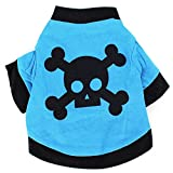 PanDaDa Pet Puppy Dog Blue T-shirt Cat Coat With Black Skull Pattern Clothin...