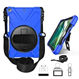 New iPad 9.7 2017 2018 Case - Yoomer Three Layer Hybrid Heavy Duty Shockproof 360 Degree Rotatable Case Cover with Kickstand - Hand Strap - Shoulder Strap and Stylus Holder for iPad 6th 5th Gen 9.7 Inch
