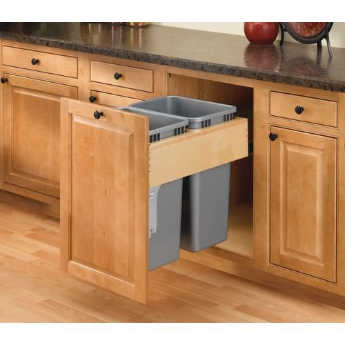 Rev-A-Shelf 4WCTM-2150BBSCDM-2 Double Pull-Out Top Mount Wood and Silver Waste Container with Ball-Bearing Soft-Close Slides, 50 quart, Natural