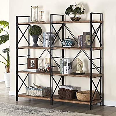 Homissue 4 Shelf Industrial Double Bookcase and Book Shelves, Storage Rack Display Stand, Etagere Bookshelf with Open 8 Shelf, Retro Brown, 64.2-Inch Height - Sturdy & Chic Construction: crafted with high quality MDF, wood grain (Not Solid Wood) and square steel tube frame, that makes this bookcase extremely sturdy and durable. Double Bookcase with Two-Layer Tube Frame : This double bookcase with 8 open shelf that allow a huge storage space for your display and organize needs. Metal frame features two-layer design with cross sides, that highlight the industrial looking of this bookshelf. Display & Storage Rack: Featuring double shelf design that is a great choice to display your favourite lush house plants, glowing candles and framed photos of your family members in the living room, den, bar or work place. - living-room-furniture, living-room, bookcases-bookshelves - 51k0b6xZYmL. SS400  -
