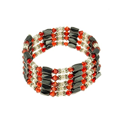 - Magnetic Hematite Beaded Wrap Bracelet, Anklet or Necklace with Genuine Fresh Water Pearls & Red Beads