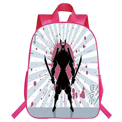 Monolayer Rucksack,Japanese,Cartoon Dark Samurai in Body Armour with Helmet on Sunburst Vintage Illustration,Pink Black,for Kids,Personalized Design.15.7