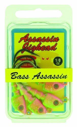 Bass Assassin Jig Head, 1/8-Ounce, Electric Chicken, 4-Pack