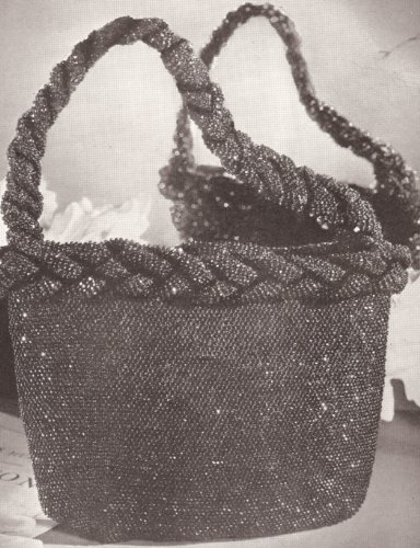 Vintage Crochet PATTERN to make - 1940s Vintage Crocheted Beaded Bag Purse Handbag. NOT a finished item. This is a pattern and/or instructions to make the item - Crochet 1940s