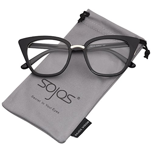 SOJOS Cat Eye Brand Designer Clear Lens Glasses Fashion Eyewear Eyeglasses SJ2052 with Black Frame/Clear Lens