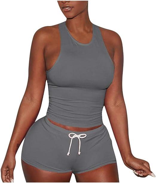 Women Sports Tracksuit Set Crop Top+Shorts Running Workout Gym Summer Loungewear
