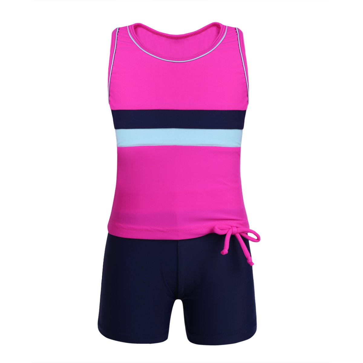 YONGHS Kids Girls Sleeveless Race Back Tops with Bottoms Set Two Piece Tankini Swimwear Bathing Suit Activewear