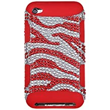 iPod Touch 4th Gen Case, Mybat Tuff Zebra Dual Layer [Shock Absorbing] Protection Hybrid Rhinestone Diamond Bling PC/Silicone Case Cover For Apple iPod Touch 4th Gen, Red/Silver