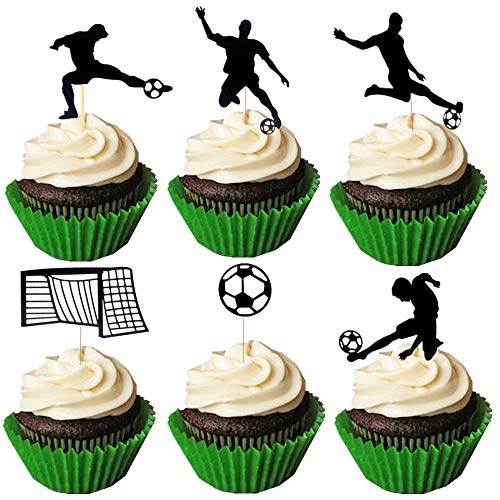 JeVenis Set of 24 Soccer Cupcake Toppers Soccer Ball Cupcake Toppers Football Cupcake Topper Sport Cake Decoration for Soccer Party Decorations Sports Party Decorations]()