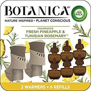 Air Wick Botanica Plug in Scented Oil Starter Kit, 2 Warmers + 6 Refills, Fresh Pineapple and Tunisian Rosemary, Air Freshener, Eco Friendly, Essential Oils, Starter Kit + 6 Refills