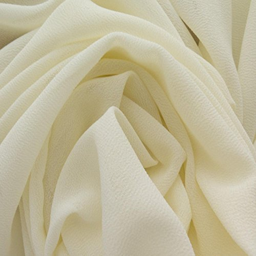 Solid Ivory White Crepe Georgette Fabric 58