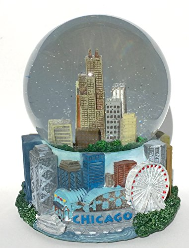 Chicago Windy City Musical Snow Globe Glitterdome 100mm Skyline ()