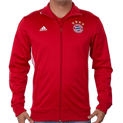 adidas Men's Fc Bayern 3 Stripe Track Top, Small, True Red