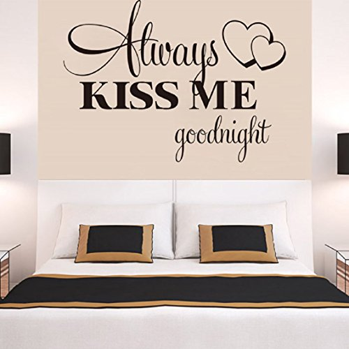 (Wall Stickers ,Ikevan Always Kiss Me Goodnight Wall Sticker PVC Decal Home Bedroom Living Room TV Setting Wall Sticker Romance Home Decoration 57x42cm)