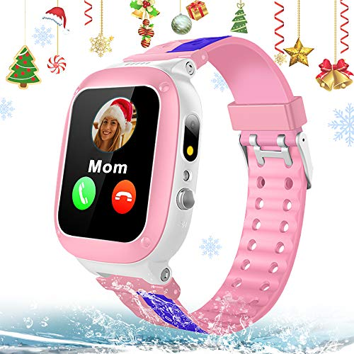 "Kids Smart Watch Phone for Girls Boys IP67 Waterproof GPS Tracker Smartwatch 2 Way Call Voice Chat Math Game SOS Flashlight Camera 1.44"" HD Touch Screen Wrist Watches Children Christmas Birthday Gift"