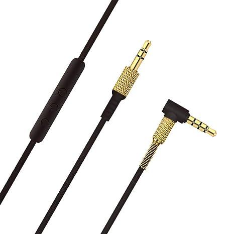 IPOTCH Ersatz Upgrade Audio Kabel 3,5 mm Male bis 3,5 mm Male Stecker Kabel mit Mic f/ür Marshall Major II 2-Monitor Kopfh/örer,schwarz