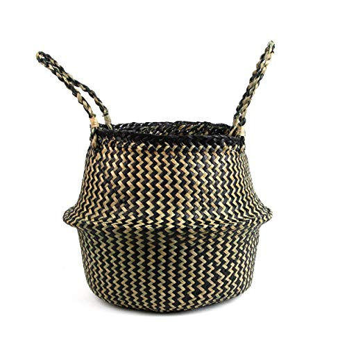 BlueMake Woven Seagrass Belly Basket for Storage Plant Pot Basket and Laundry, Picnic and Grocery Basket (Medium, Black Strips) -