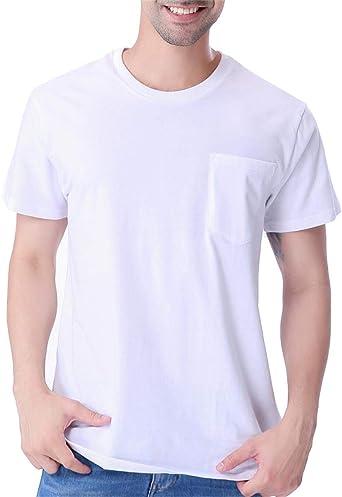 COSAVOROCK Hombres de Manga Corta Grueso de Algodón Camiseta de Bolsillo