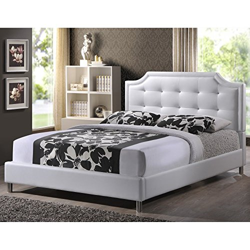 Glamour White Faux Leather - Carlotta Upholstered Rhinestone Tufted Platform Bed