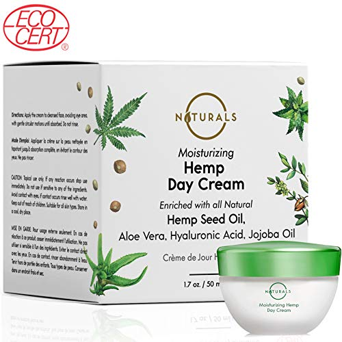 O Naturals Moisturizing Day Cream ECOCERT Certified Organic - Made with Hemp Oil + Hyaluronic Acid. Non Greasy, Anti-Aging formula for Firm and Wrinkle-Free Skin. Collagen Boosting. 1.7 Oz